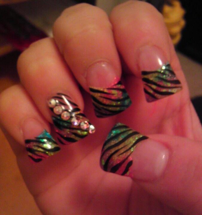 Zebra Print Duck Tip Nails Hair And Nails Pinterest