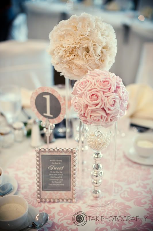 Inventive centerpiece varying blooms + pink +  white + pearls