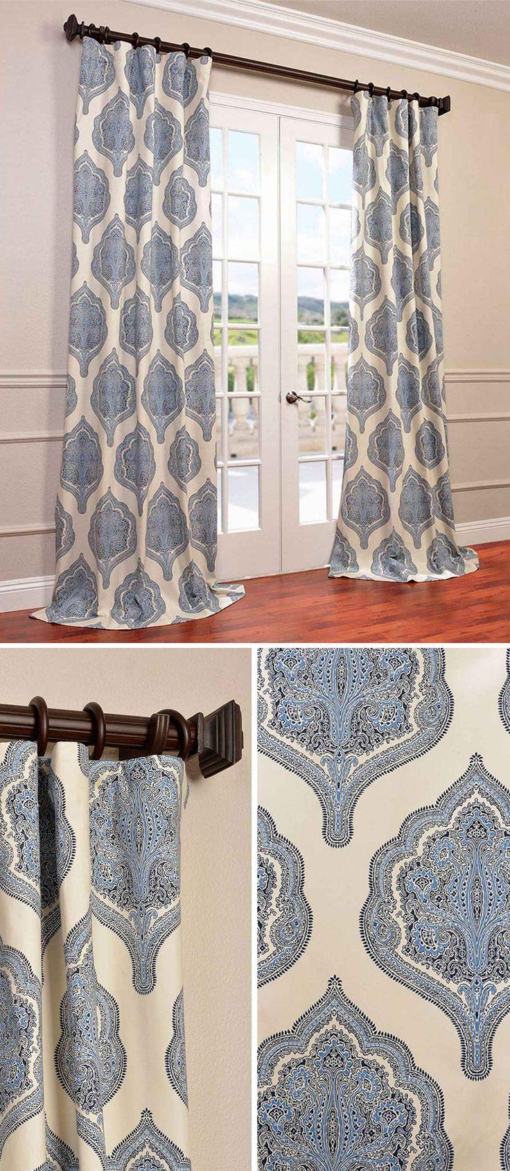 Half Price Drapes Arabesque Blue 96 X 50 Inch Curtain Single Panel Printed Cotton The Ojays