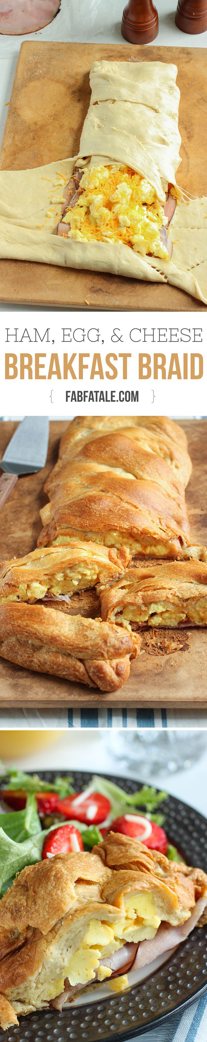 feeds a crowd and is SO good – ham, egg, and cheese croissant breakfast braid recipe #brunch