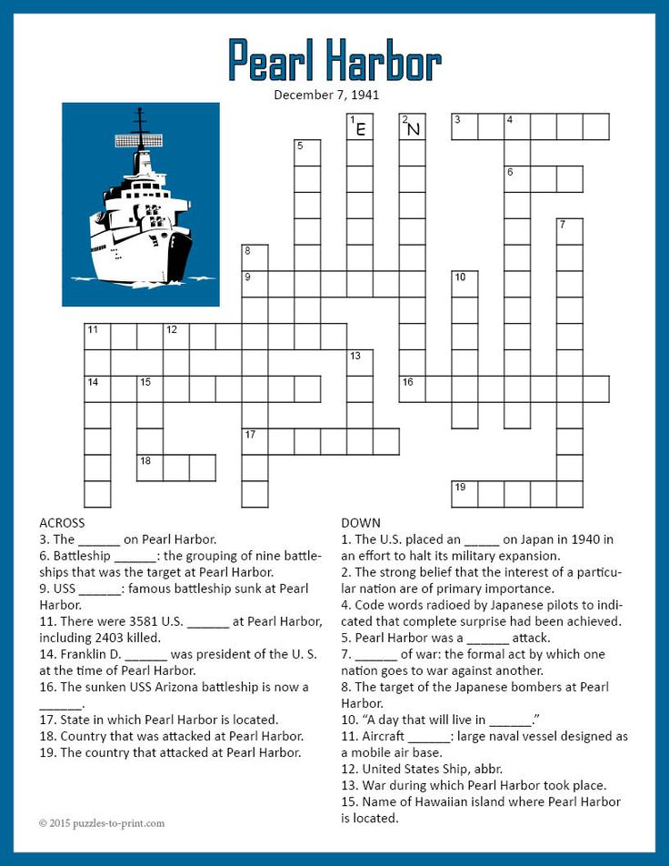 Pearl Harbor Crossword Puzzle To be, Studying and Pearls
