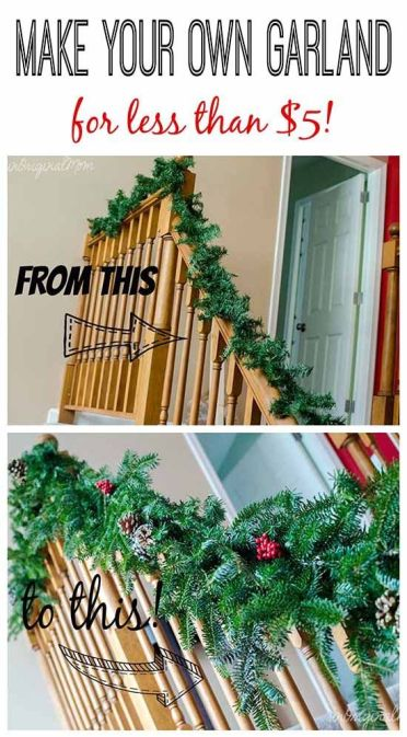 Make your own garland using cheap $2 garland strands from Walmart as a base - then bulk it up with free clippings from the tree farm:
