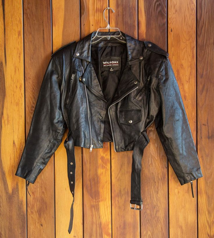 Vintage 80s 90s Cropped Leather Motorcycle Jacket by
