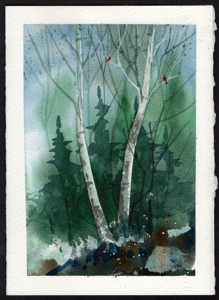 Beautiful Original WATERCOLOR Christmas Card By