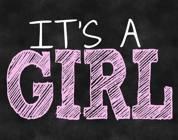 Gender Reveal Its A Girl Chalkboard DIY Printable Signs