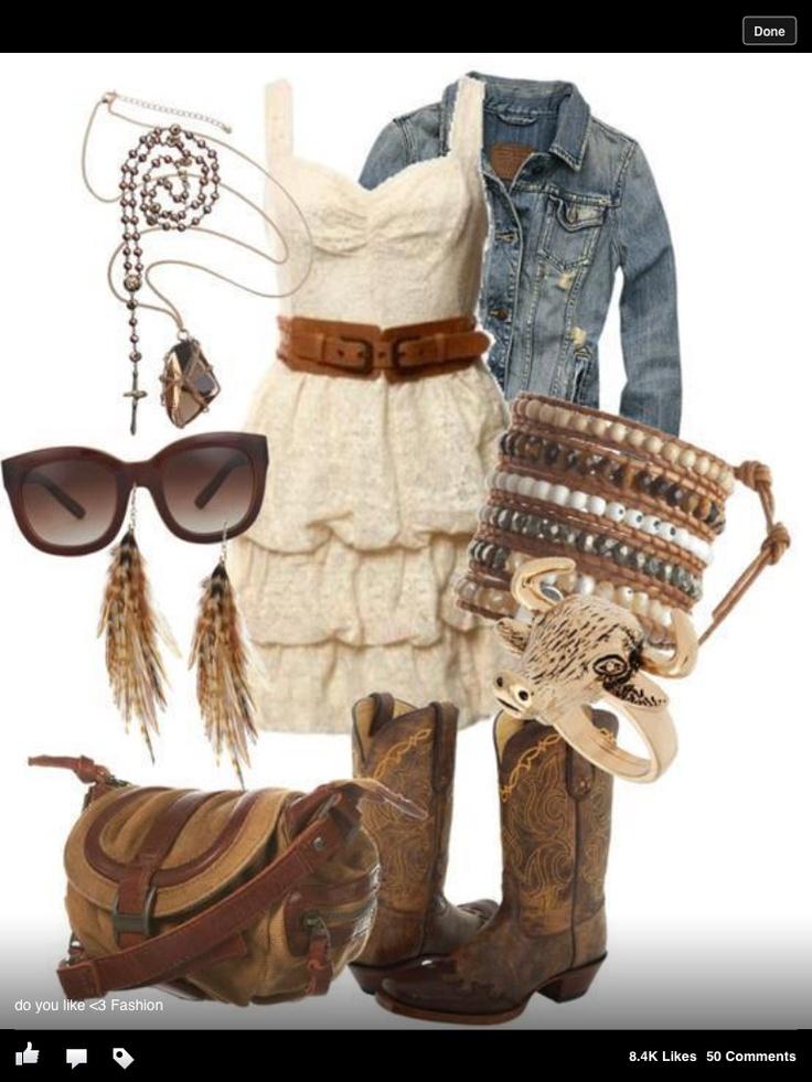 Cute summer outfit cowboy boots ahhhhh!!!!! Cute summer