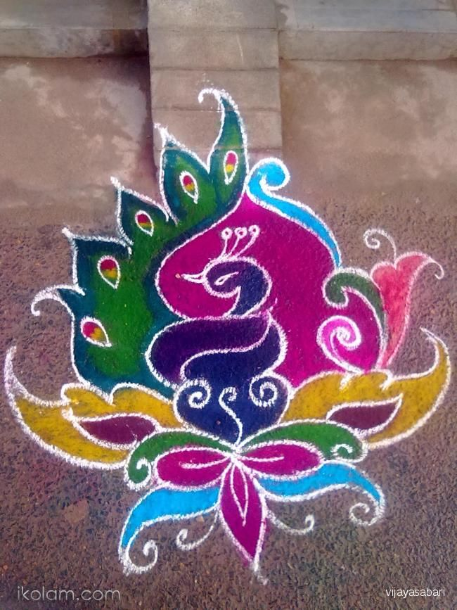 free hand rangoli Creative, Design and Birds