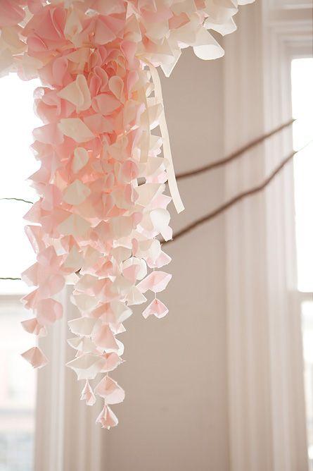 Chiffon flower chandelier – reminds me of Japanese kanzashi hair accessories.