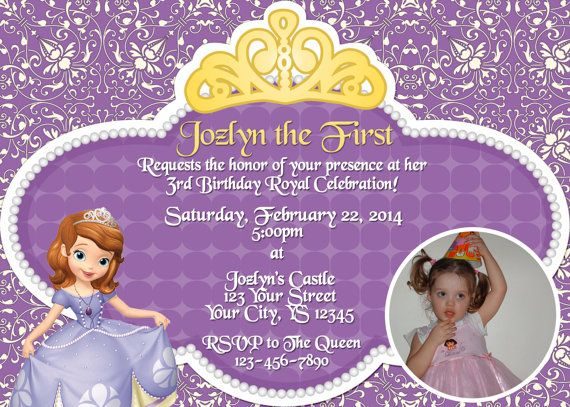 Sofia The First Birthday Invitation Print Your Own By