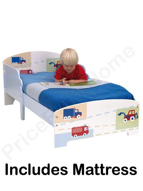 Boys Vehicle Junior Mdf Toddler Bed Deluxe Foam Mattress