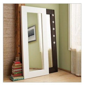 A super cheap tutorial to build a floor mirror using recycled mirrored closet do