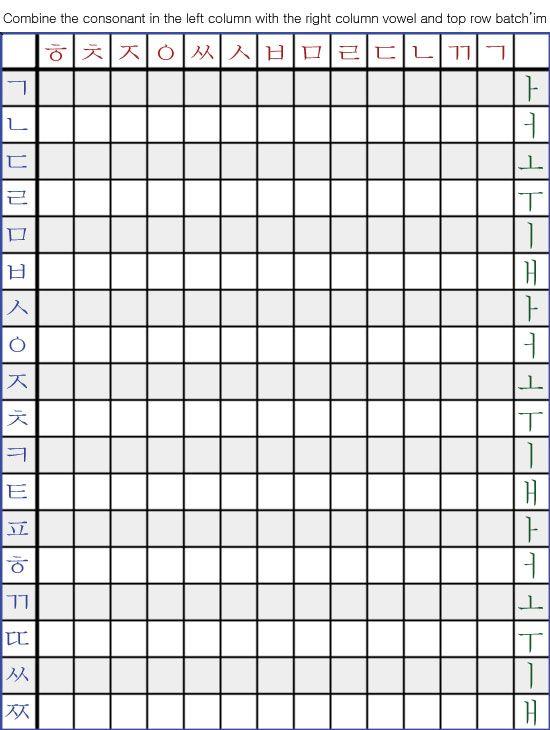 Hangul Compund Table Practice Pad Korean Online Book