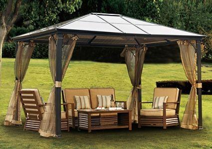 10 X 12 Outdoor Hardtop Polycarbonate Roof Patio Gazebo WNetting Amp Metal Frame Backyard
