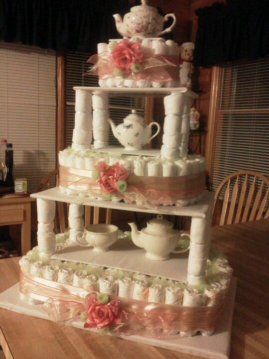 Tea Party Diaper Cake Baby Shower Pinterest Tea