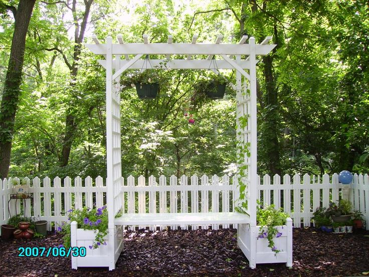 Bench With Built In Arbor Trel 7 Ft Rectangle Vinyl