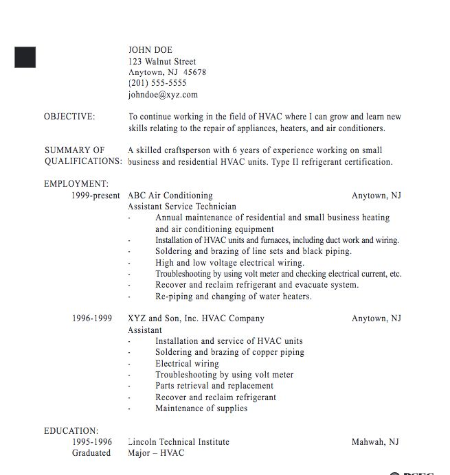 Resume Examples Hvac Technician. Service Sample. Breakupus
