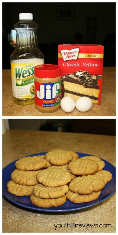 1 box yellow cake mix, 2 eggs, half cup of oil and a cup of peanut butter. Bake for 10 minutes at 350 for the easiest, most
