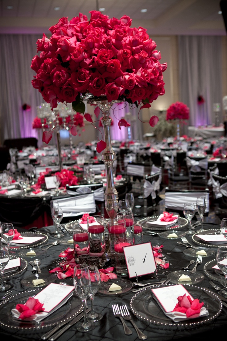Hot Pink Rose Centerpiece of Silver Stand by Emerald City