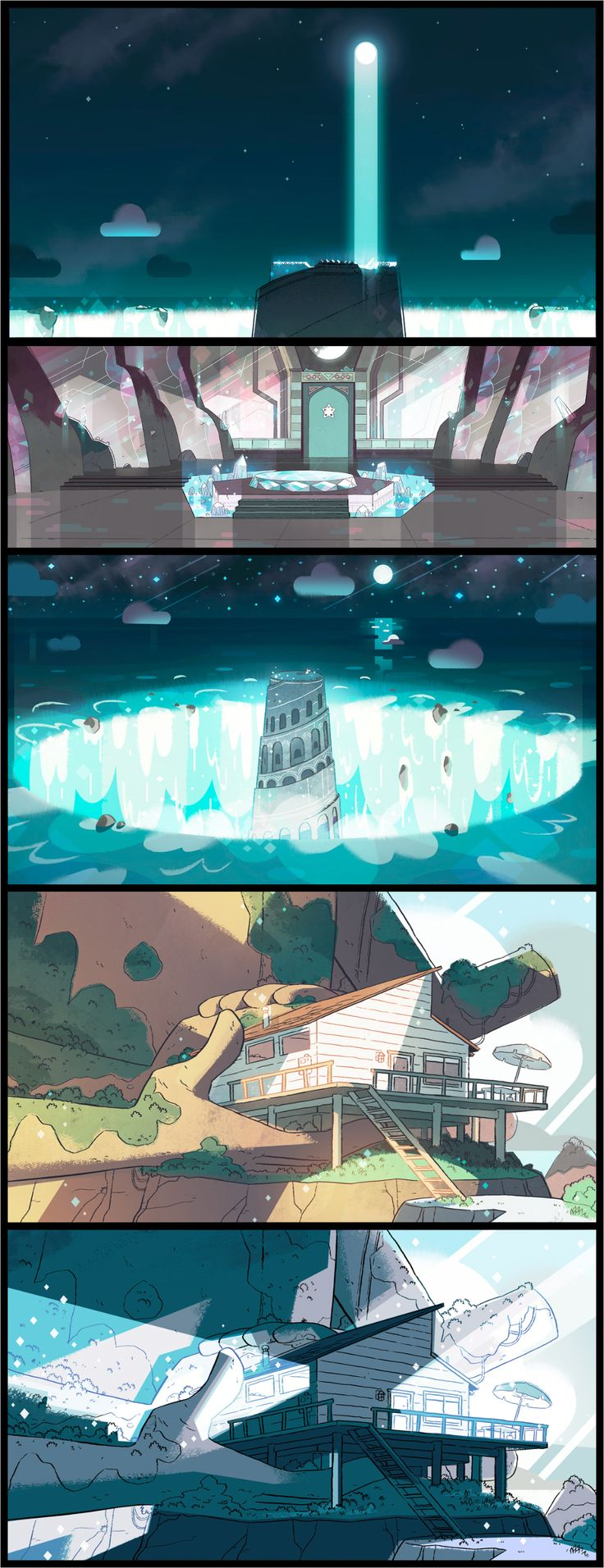 """A selection of backgrounds from the Steven Universe episode: """"Cheeseburger Backpack"""". Direction: Kevin Dart; Design: Steven Sugar,"""