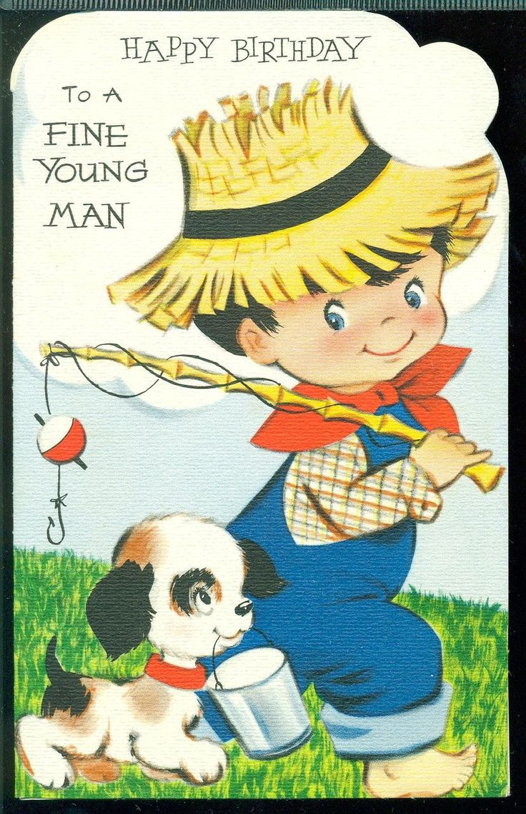 Vintage birthday card for little boy PaperScrapbooking