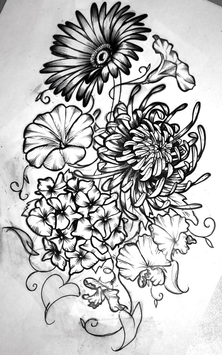 Birth month flowers combined Tattoo Ideas Pinterest