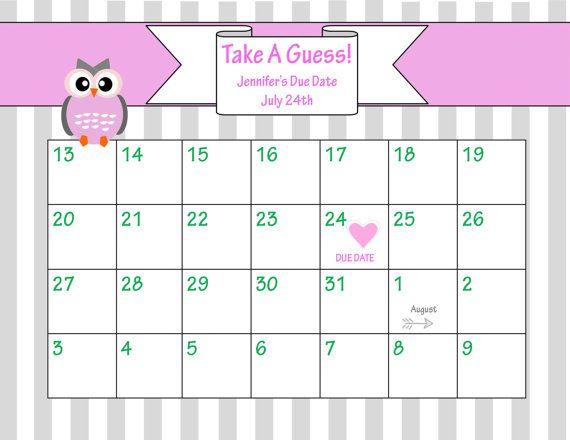 Baby Pool Game Template. Bing Images. Calendar Due Date Calendar