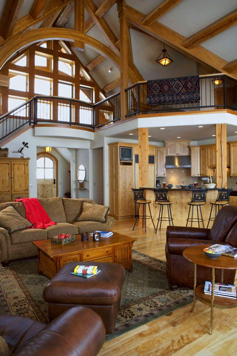 Great Room Cathedral Is Created By Timber Purlins And Arched Structural Trusses The Room Is