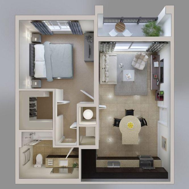 50 One 1 Bedroom Apartment House Plans Interiordesigndream