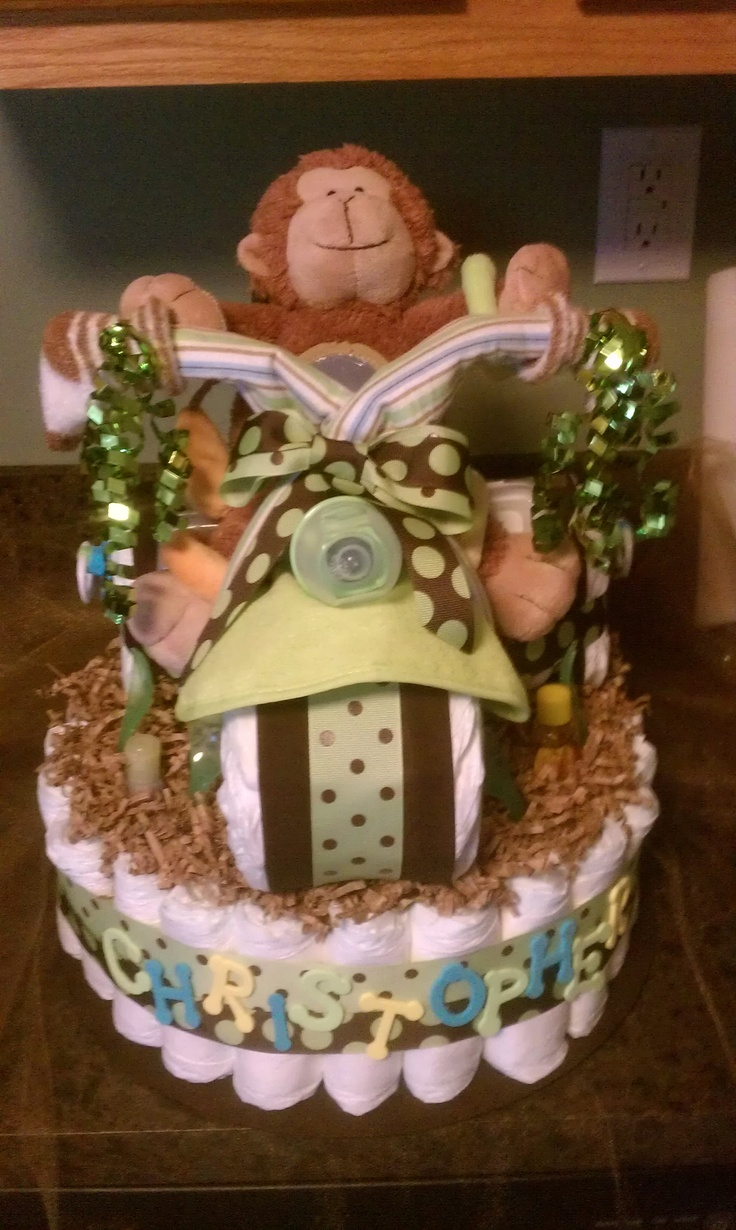 Monkey Tricycle Diaper Cake Baby Shower Pinterest