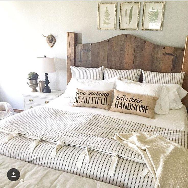 Ticking stripe bedding. Farmhouse bedding. Duvet. Wood
