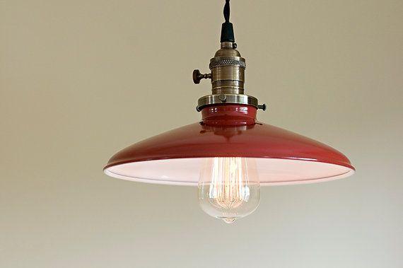 """Industrial Style Red Porcelain Enamel 10"""" Pendant Light"""