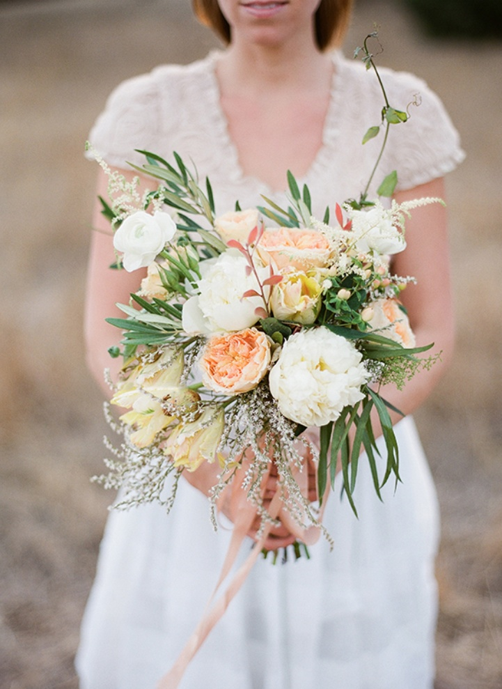 Lovely And Whimsical Bouquet Of Peonies Garden Roses
