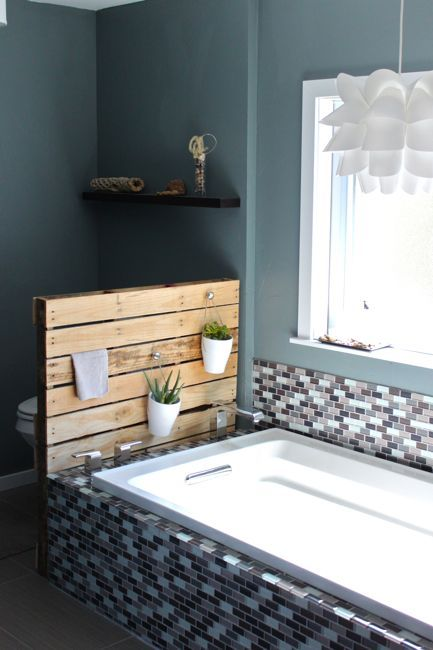 DIY Bathroom Shelf System And Planter Stand From A Single Pallet