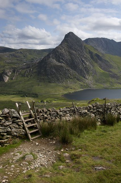 Tryfan from the lower slopes of Pen yr Ole Wen, Wales: