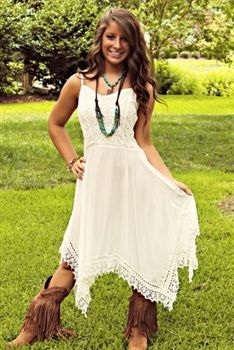 Back In The Saddle Again Dress In White $42.99! #SouthernFriedChics