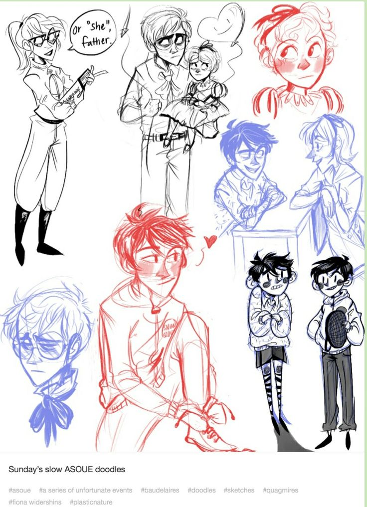 A Series of Unfortunate Events sketches....I love Klaus in