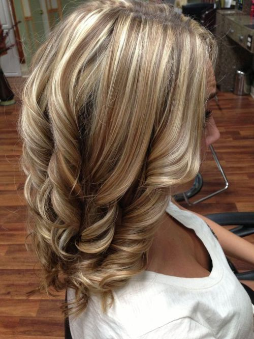Ideal combination of blonde highlights brunette lowlights