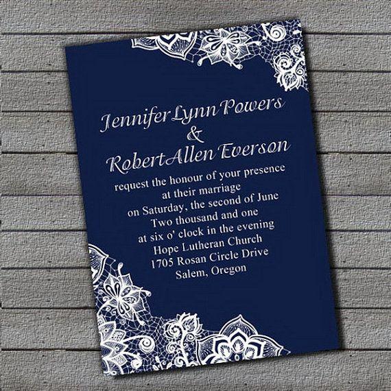 Beautiful Royal Blue Wedding Invitation Sets Free RSVP