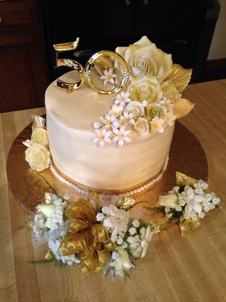 50th Anniversary Cake And Flowers Food Recipes