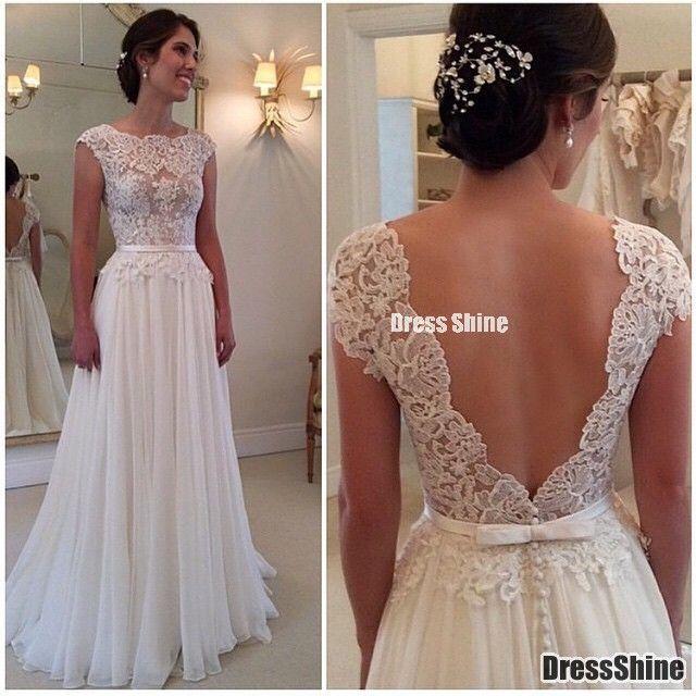 2015 Bateau A-Line Prom Dresses Fully Lace Appliques Chiffon Deep V Black Beach Wedding Dress – PROM