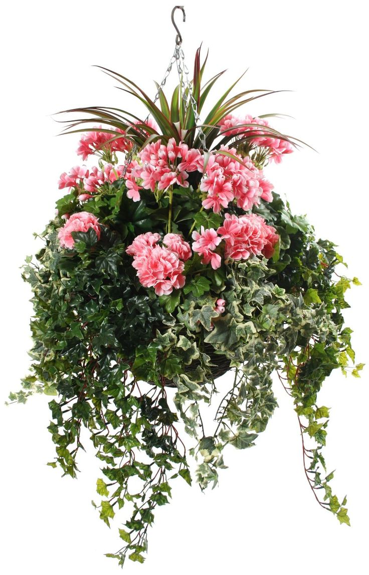 Pink Geraniums Artificial Hanging Basket Hanging Baskets