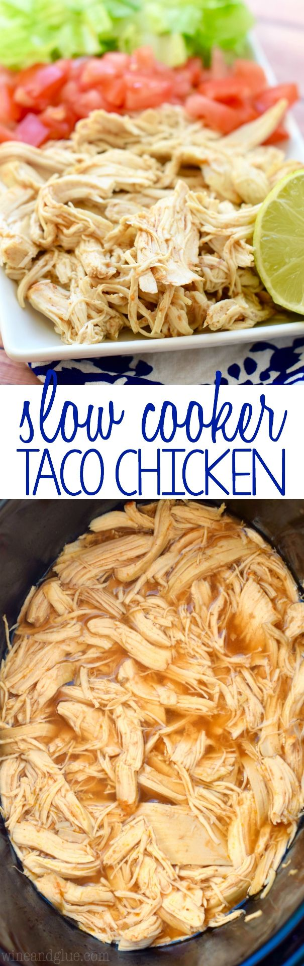 This Slow Cooker Taco Chicken is super simple to make, but it is the start of so many delicious dinners! It needs to be part of