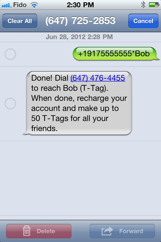 To create a new TTag text phone number * TTag name