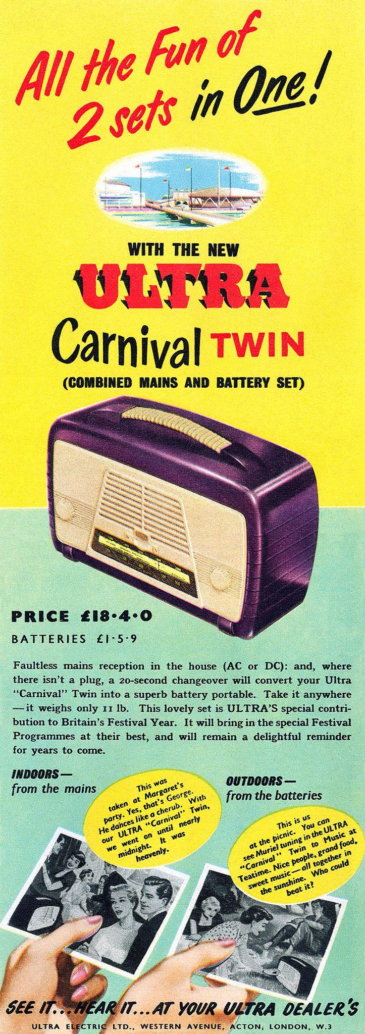 1951 Ultra Carnival Twin Radio ad, UK HiFi Heaven