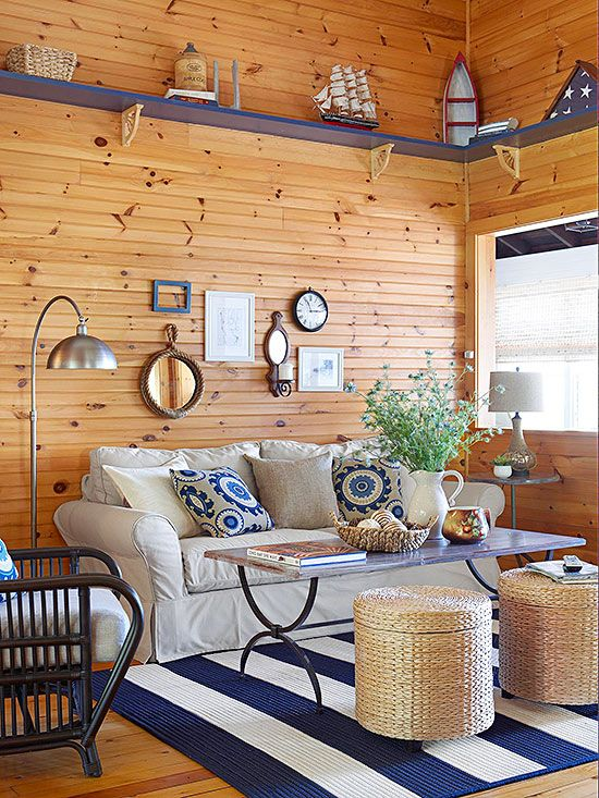 Colors That Go With Navy Blue Knotty Pine Paneling Red Blanket And White Carpet