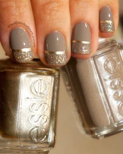 pretty nail art love the gold line with the gold sparkles and the gray/neutral base. @Jo Roberts