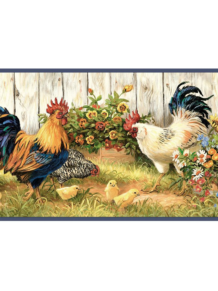 Rooster and Sunflower Wallpaper Border FFR24511B http
