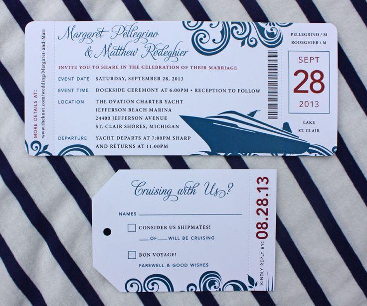 Red Amp Blue Swirl Yacht Cruise Boarding Pass Wedding Invitations Wedding Pinterest Boats