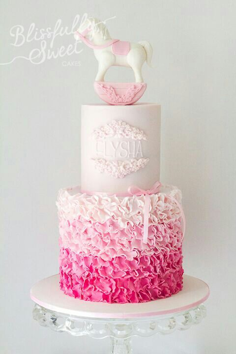 Pink Ombre Ruffle Cake Cakes Pinterest Pink Baby