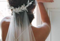Statement bridal hair accessories – Low Veil & Headpiece by Tania Maras…